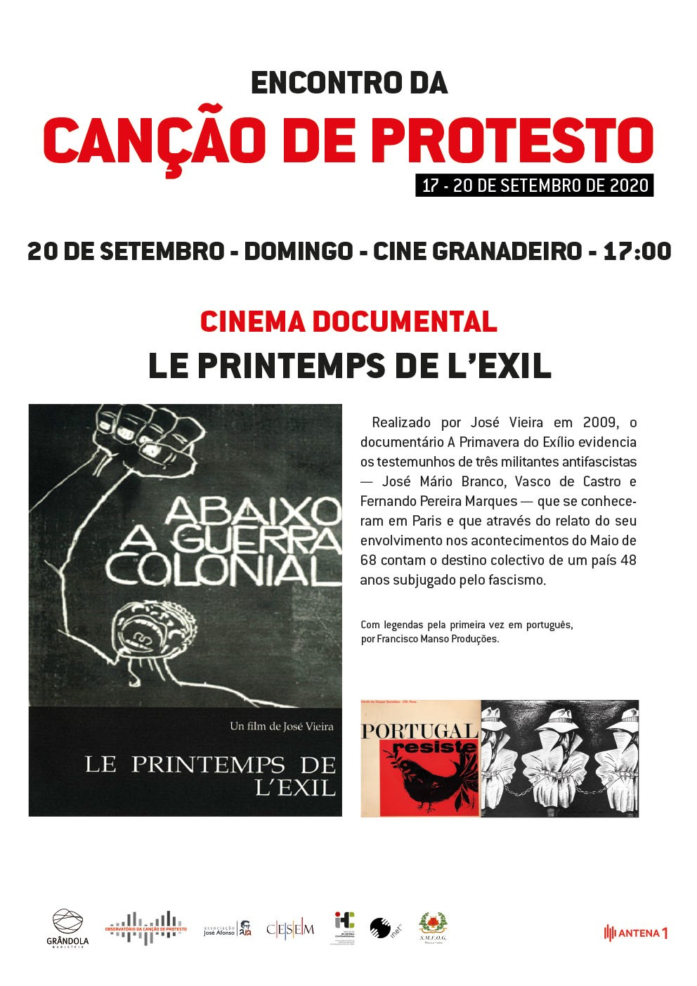 Encontro da Canção de Protesto | Cinema documental | Le Printemps de L'exil